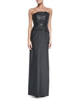 Womens Cimex Shimmery Strapless Column Gown   Roland Mouret   Black (UK8/4)