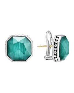 14mm Sterling Silver Malachite Rocks Clip On Earrings   Lagos   Silver (14mm ,