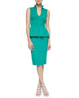 Womens Candeese Sleeveless Peplum Sheath Dress, Summer Green   Black Halo