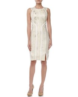 Womens Sleeveless Jacquard Sheath Dress, Pearl   J. Mendel   Pearl (10)