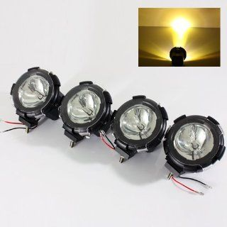 "4 x 3000K Yellow Built in 35W HID Kit 4"" 4x4 Jeep/SUV/ATV/Truck/Pickup Off Road Lights Fog Lamps Automotive"