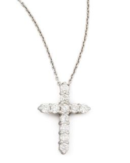 18 White Gold Diamond Cross Pendant Necklace, 0.45ct   Roberto Coin   White