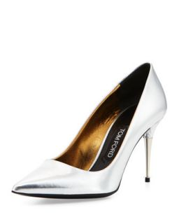 Low Heel Pointed Toe Metallic Pump, Silver   Tom Ford   Silver (38.0B/8.0B)