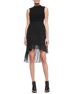 Womens Chiffon Overlay High Low Dress   Alice + Olivia   Black (LARGE)