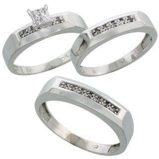 10k White Gold Diamond Trio Engagement Wedding Ring Set for Him and Her 3 piece 5 mm & 4.5 mm, 0.14 cttw Brilliant Cut, ladies sizes 5   10, mens sizes 8   14 Jewelry