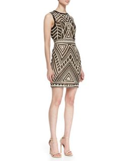 Womens Sleeveless Maze Pattern Cocktail Dress, Black/Nude   Nicole Miller