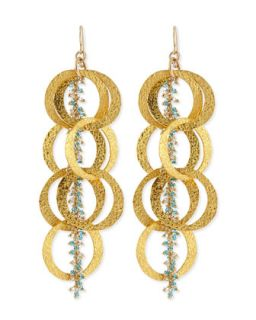 Beaded 18k Yellow Gold Plated Linked Circle Drop Earrings   Devon Leigh