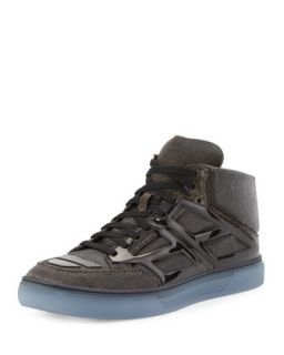Mens Iridescent Mesh High Top Sneaker, Gold   Alejandro Ingelmo   Gold (10.5D)