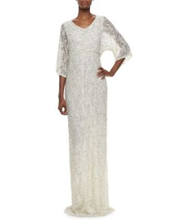 Womens Cante Three Quarter Sleeve Sequin Lace Gown   Alice + Olivia   Cream (6)