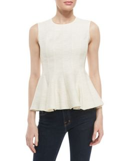 Womens Sleeveless Peplum Top, Cream   Halston Heritage   Cream (8)