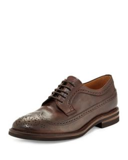 Mens Leather Long Wing Tip Shoe, Brown   Brunello Cucinelli   (43)