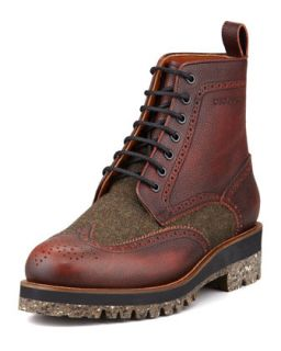 Mens Leather & Tweed Wing Tip Boot, Brown   Dsquared2   Brown (41.5/9.5D)