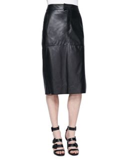 Womens Stilt Paneled Leather Midi Skirt   Helmut Lang   Black/Black (6)