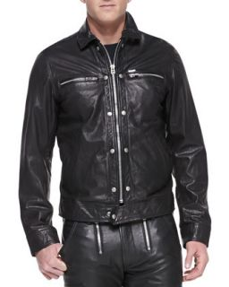 Mens Bunmi Sheepskin Leather Moto Jacket, Black   Diesel   Black (L/42)