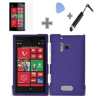 Zizo (TM) Rubberized Solid Purple Color Snap on Hard Case Skin Cover Faceplate with Screen Protector, Case Opener and Stylus Pen for Nokia Lumia 928   Verizon Cell Phones & Accessories