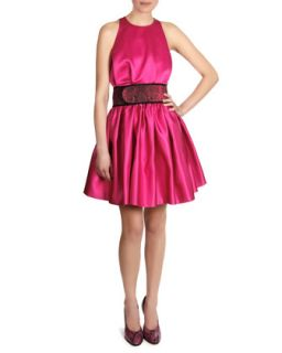 Womens Satin Sleeveless Cinch Waist Dress   Christopher Kane   Fuchsia (UK1410)