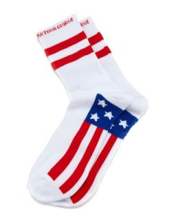 America Mens Socks, White   Arthur George by Robert Kardashian   White