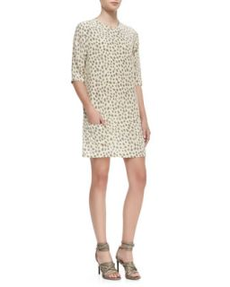 Womens Aubrey Leopard Print Shift Dress   Equipment   Bleached sand (X SMALL/0