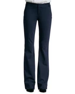 Womens Stacey Twill Flat Front Pants   Alice + Olivia   Navy (2)