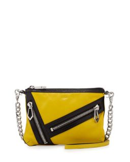 Cruz Zip Colorblock Leather Crossbody Bag, Citron/Black   Botkier