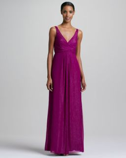 Womens Sleeveless Sparkle V Neck Gown   Nicole Miller   Fuchsia (0)