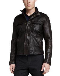 Mens Leather Moto Jacket, Dark Brown   Vince   Dark brown (LARGE/42)
