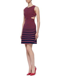 Womens Sleeveless Cutout Back Dress, Navy/Pink   Thakoon Addition   Navy/Pink