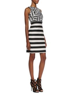 Womens Sleeveless Striped Sheath Dress   Christian Siriano   Black/White (12)
