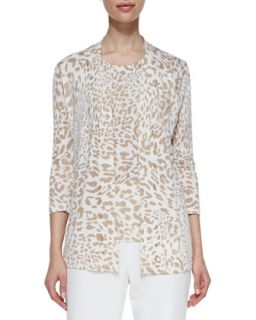 Womens Open Front Animal Print Cardigan   Camel (X LARGE 16)