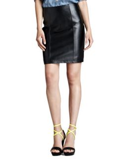 Womens Leather Pencil Skirt, Black   Cusp by    Black (LARGE)