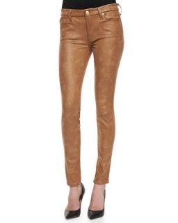 Womens The Skinny Crackle Leather like Jeans, Cognac   7 For All Mankind