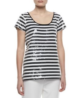 Womens Sequined Striped Short Sleeve Tee   Joan Vass   Black/Brt white (2