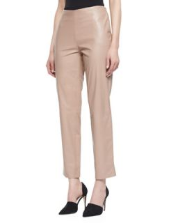 Womens Cropped Leather Pants   Paule Ka   Blush (40)