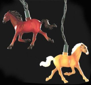 Set of 10 Running Horse Country Western Equestrian Christmas Lights   Green Wire   String Lights