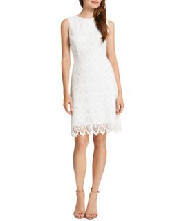Womens Ramsey Sleeveless Lace Sheath Dress, Lilly White   Cynthia Steffe