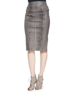 Womens Python Print Leather Pencil Skirt   Arzu Kaprol   Green/Brown (38/6)