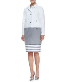 Womens shipley contrast coat, fresh white/casino gray   kate spade new york