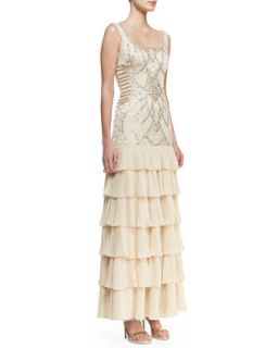Womens Sleeveless Embroidered & Sequined Bodice Gown, Champagne   Sue Wong