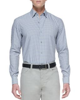 Mens Poplin Microcheck Sport Shirt, Blue/Gray   Ermenegildo Zegna   Blue/Gray