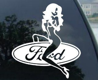 "Ford Girl   6"" WHITE   Decal Sticker for FORD GT 500 40 MUSTANG SHELBY SALEEN KR FUNNY DECAL GT MUSTANG SVT COBRA MACH 1 BULLITT MUSTANG ROUSH FOCUS FLEX FUSION PROBE Expedition Excursion F250 F350 F450 Taurus F150 Mustang Ranger Escort Explorer Focus"