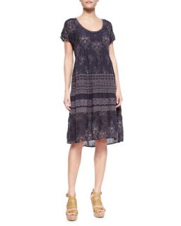 Embroidered Georgette Short Sleeve Dress, Womens   Johnny Was Collection