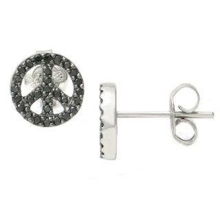 14K White Gold Peace Sign Black Diamond Stud Earrings Jewelry