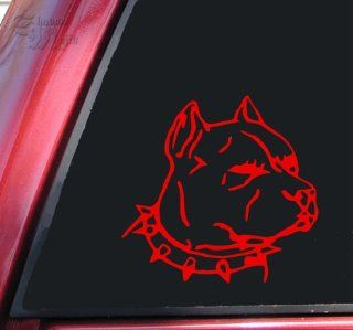 Pit Bull Pitbull Head #1 Vinyl Decal Sticker   Red Automotive