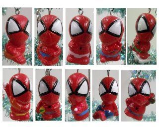 Set of 10 Spiderman Christmas Tree Ornaments Featuring Spiderman in Various Sports Poses Toys & Games