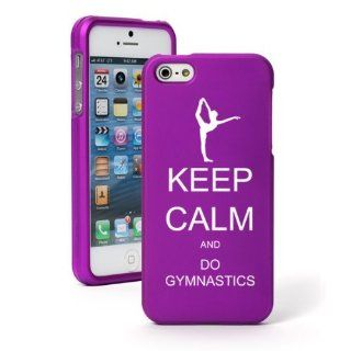 Apple iPhone 5 5S Purple Rubber Hard Case Snap on 2 piece Keep Calm and Do Gymnastics Cell Phones & Accessories