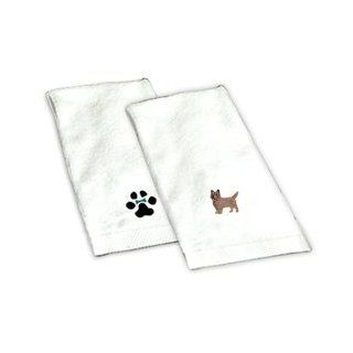 Our Cairn Terrier white hand towel is 100% cotton and measures 16X26. It is directly embroidered with your Cairn Terrier image. This is a unique gift idea for your dog loving friend or family member. This towel makes a perfect addition to any bathroom and