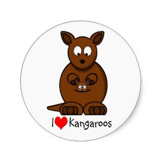 Cute Cartoon Kangaroo and Baby Joey Round Stickers