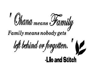 Ohana Means Family Vinyl Wall Art Sticker Decal Quote Saying Letters Removable