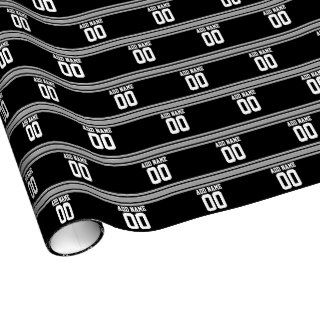 Create Your Own Football Jersey   Black Silver Gift Wrap