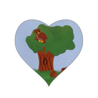 Owl and an Oak Tree Whimsical Cartoon Art Stickers